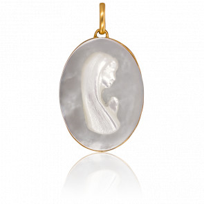 Medalla Ovalada Virgen Nácar y Oro Amarillo 18K