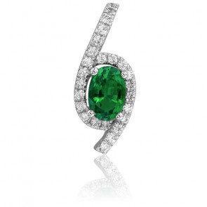 Colgante Esmeralda Ovalada & Diamantes