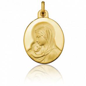 Medalla Ovalada Virgen con el Niño Oro Amarillo