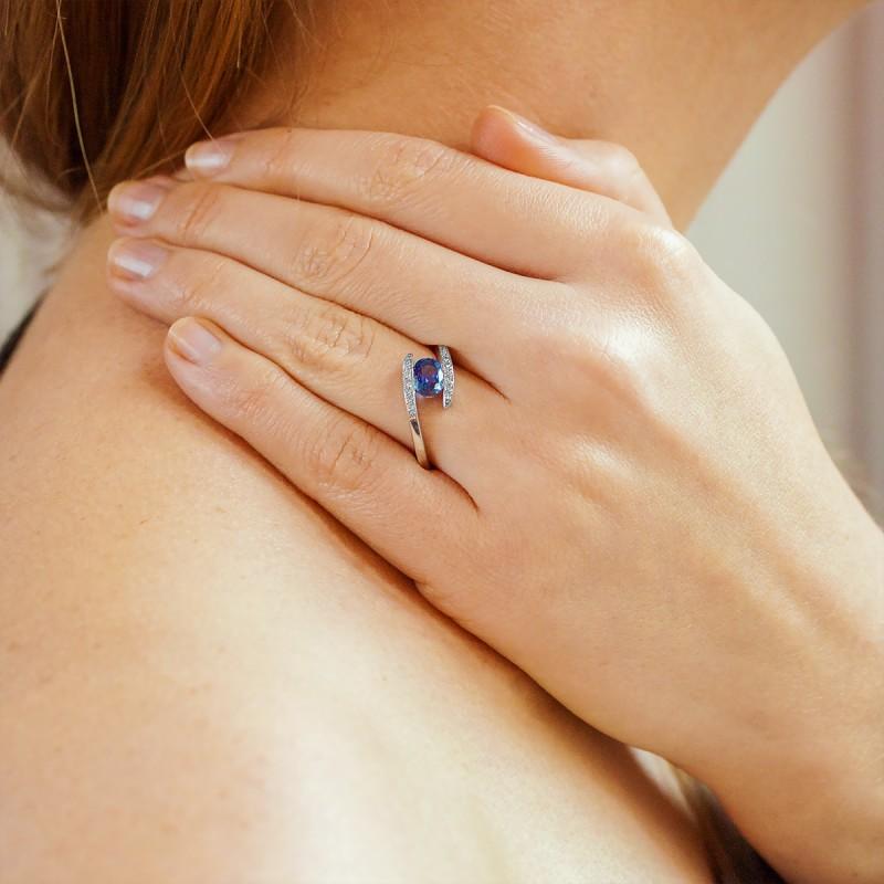 Anillo Compromiso De Oro Blanco Diamantes Y Zafiro