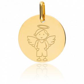 Medalla diseño  Ángel niño, Oro Amarillo 9k, 16mm