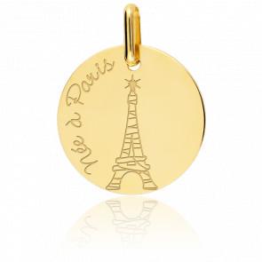 """Medalla de niña """"Née à Paris"""" 9 kt"""