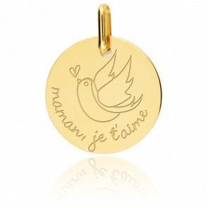 """Medalla """"Maman je t'aime"""" Oro Amarillo 9 quilates"""