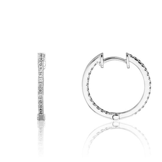 b3990161269d Pendientes de Aros Oro Blanco y Diamantes - Joelli - Ocarat