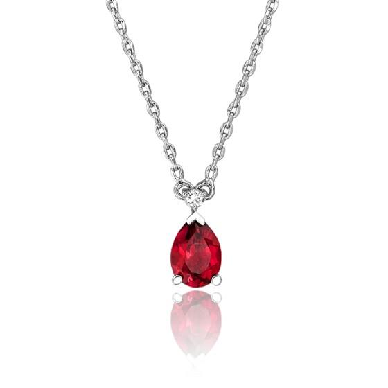 Calidad superior 0f4f0 93ad0 Collar de Oro Blanco Rubí y Diamante forma Gota - Joelli - Ocarat