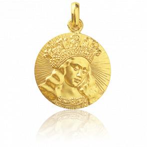 Medalla Virgen de Van Eyck 18 mm Oro Amarillo 18K