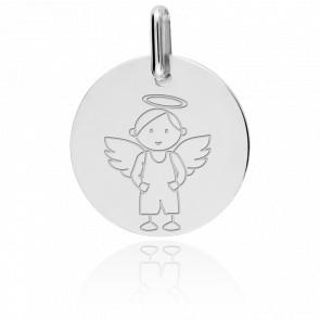 Medalla Ángel Chico Oro Blanco 18K