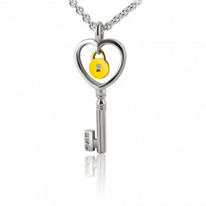 Collar Lock & Love Corazón Llave de los Enamorados Plata