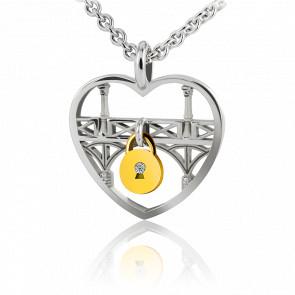 Collar Lock & Love Corazón Puente de los Enamorados  Plata