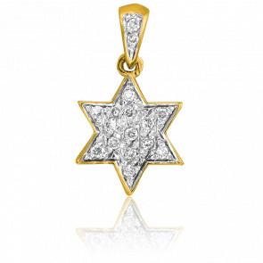 Colgante Estrella de David de Oro Amarillo & Diamantes