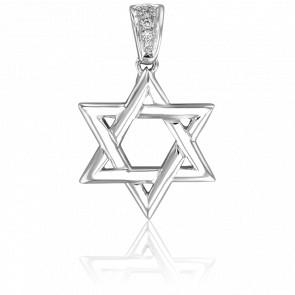 Colgante Estrella de David Oro Blanco & Diamantes