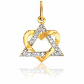 Colgante Triángulo y Corazón Oro Amarillo & Diamantes