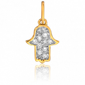 Colgante Mano de Fátima Oro Amarillo & Diamantes