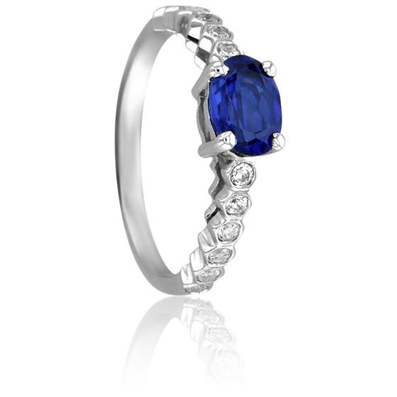 ca732960fa90 Anillo de compromiso zafiro y diamantes - Ancelys - Ocarat
