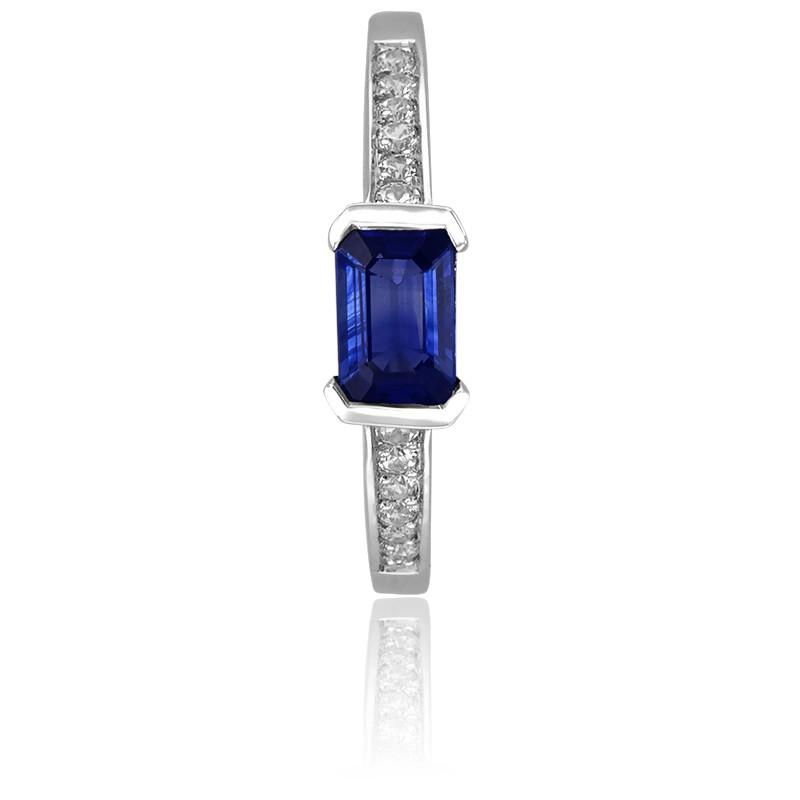 e5ec3f01a9ae Anillo de compromiso Eléonore diamantes y zafiro. - Ocarat