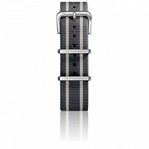 Correa Nylon Tipo Nato 20mm Grey/Ivory/Grey Cierre Acero