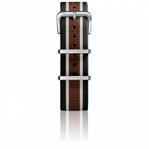 Correa Nylon Tipo Nato 20mm Black/Ivory/Brown Cierre Acero