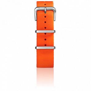 Correa Nylon Tipo Nato 22mm Naranja, Cierre Acero
