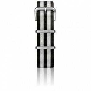 Correa Nylon Tipo Nato 22mm Black/White Cierre Acero
