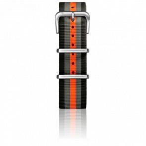 Correa Nylon Tipo Nato 225 mm Black/Grey/Orange Cierre Acero