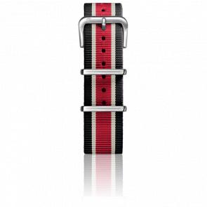 Correa Nylon Tipo Nato 22mm Black/Ivory/Red Cierre Acero