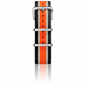 Correa Nylon Tipo Nato 20mm Black/Ivory/Orange Cierre Acero