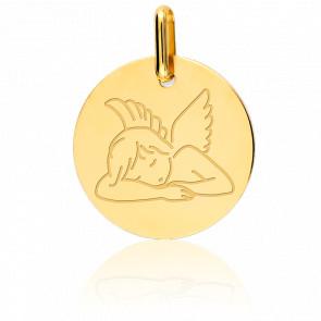 Medalla Ángel Acostado Oro Amarillo 18K