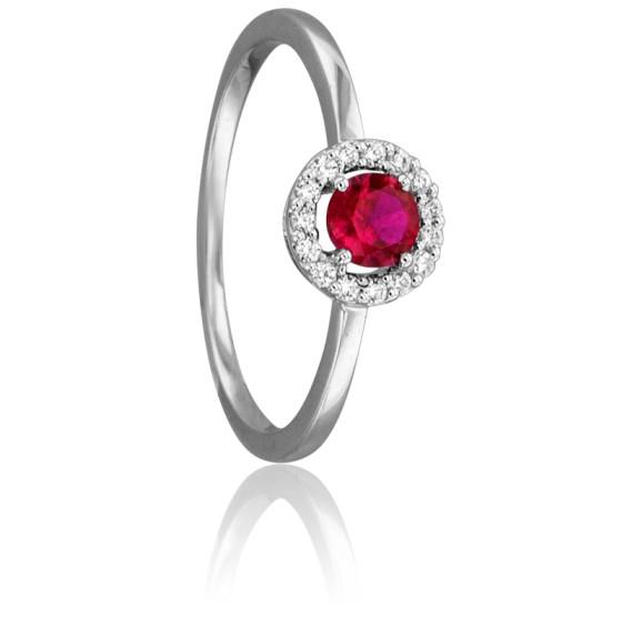 000b4a3f37c8 Anillo de oro blanco con diamantes y rubí - Juweel - Ocarat
