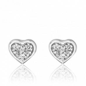 Pendientes Corazón Labréole Oro Blanco 18K y Diamantes