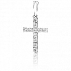 Cruz de Oro Blanco 18K & Diamantes 0,20 ct