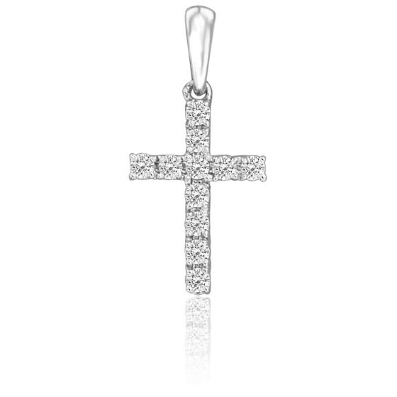 Cruz de Oro Blanco 18K & Diamantes 0,20 ct