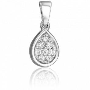 Colgante Gota de Diamantes y Oro Blanco 18K