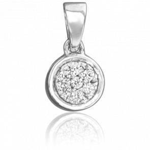 Colgante Circular Oro Blanco 18K & Diamantes