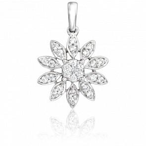 Colgante Margarita de Oro Blanco 18K & Diamantes