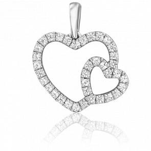 Colgante Doble Corazón Oro Blanco 18K & Diamantes