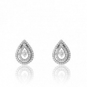 Pendientes Gota Andiole Oro Blanco 18K y Diamantes