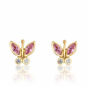 Pendientes Mariposas Oro Amarillo 9K Circonitas rosas y blancas