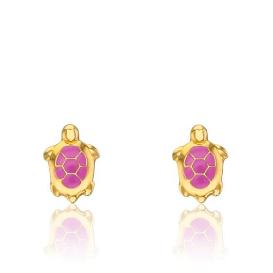 Pendientes Tortugas Rosas Oro Amarillo 9K