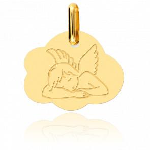 Medalla Ángel acostado en una nube oro amarillo 18K