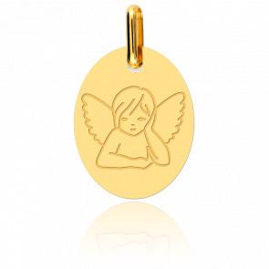 Medalla Ángel Pensativo Oro Amarillo 18K