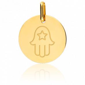 Medalla Mano de Fátima & Estrella Oro Amarillo 18K