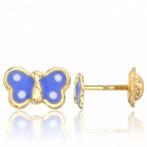 Pendientes Mariposas Azules Oro Amarillo 9K