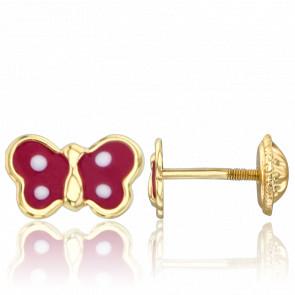 Pendientes Mariposas Rojas Oro Amarillo 9K