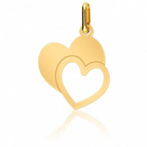 Colgante Corazón Doble Oro Amarillo 18K