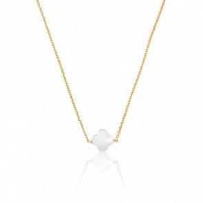 Collar Trébol Nácar blanco& chapado en oro