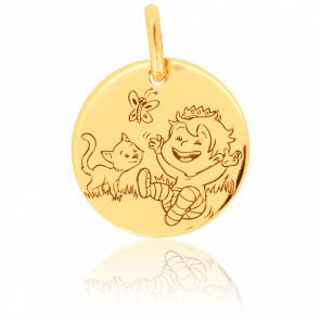 Medalla Divertida Naturaleza Oro Amarillo 18K