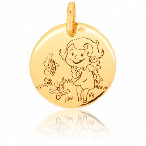 Medalla Naturaleza Niña Oro Amarillo 9K