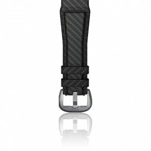 Correa cuero negro acabado carbono 24mm con cierre plateado