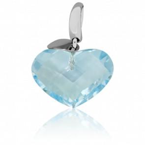 Colgante Blue Heart Oro Blanco y Topacio Azul