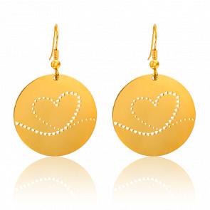 Pendientes Fay Corazón Chapado en Oro Amarillo